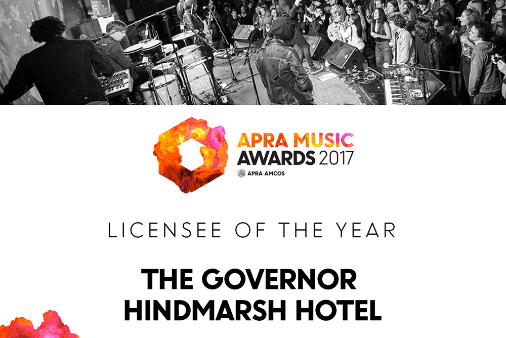 The Gov takes out the APRA AMCOS 'Licensee of the Year' Award